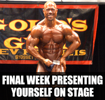 presenting on stage ULTIMATE Bodybuilding Contest Preparation Audio Seminar Course