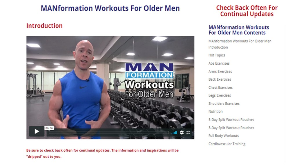 splash 32 1024x576 Get Free Lifetime Access Into The MANformation Workouts For Older Men Members Only Website